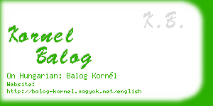 kornel balog business card